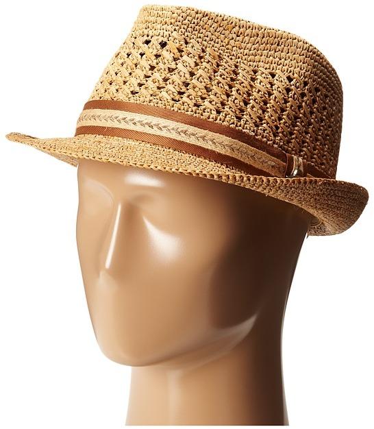 ... Tan Straw Hats Tommy Bahama Vent Crochet Raffia Fedora X Fedora Hats ... 1164ec42e807