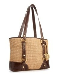 Tan Straw Tote Bag
