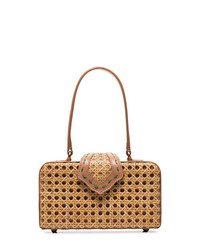 Mehry Mu Brown Fey In The 50s Rattan Leather Box Bag