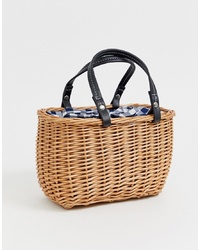 New Look Gingham Detail Basket Bag In Black Pattern