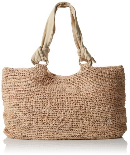 Grasse Wide Crochet Leather Tote Bag Tan Straw By Flora Bella