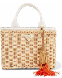 Prada Midollino Tasseled Canvas And Leather Trimmed Wicker Tote White