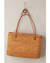 Anthropologie Structured Straw Tote