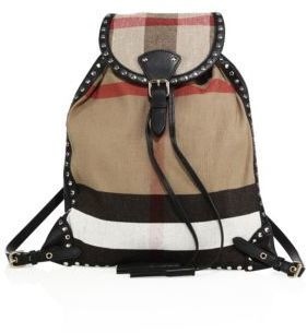 Burberry Chiltern Studded Canvas Check Backpack
