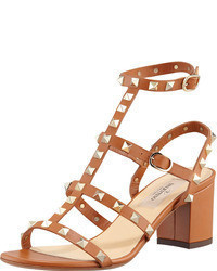 Tan Studded Heeled Sandals