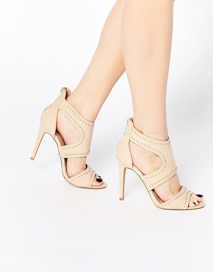 c9536395ab6 ... Lipsy Liberty Nude Studded Caged Heeled Sandals ...