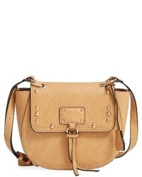 Sole Society Studded Faux Leather Crossbody Bag Brown