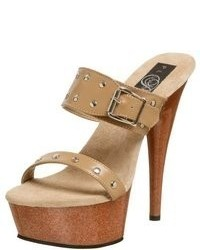 Tan Studded Leather Heeled Sandals