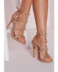 Missguided Studded Heeled Gladiator Sandals Blush