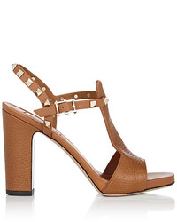Valentino Rockstud Leather T Strap Sandals