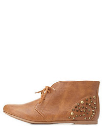 Tan Studded Leather Lace-up Ankle Boots