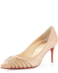 Tan Studded Leather Pumps