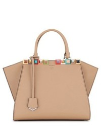 Fendi 3jours Studded Calfskin Leather Shopper Grey