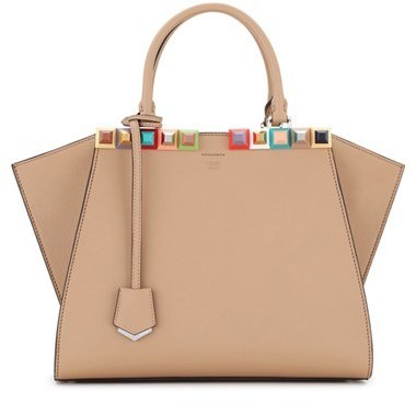 ... Tan Studded Leather Tote Bags Fendi 3jours Studded Calfskin Leather  Shopper ... 8e566cd280fef