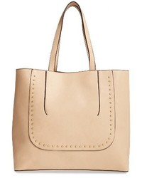 Sole Society Adelaine Studded Faux Leather Tote Brown