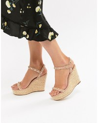 Missguided Studded Strap Wedge Sandal