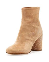 Maison Martin Margiela Suede Sparkle Ankle Boots Flesh