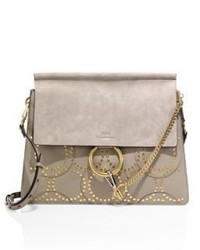 Chloé Chloe Faye Medium Studded Circle Leather Suede Shoulder Bag