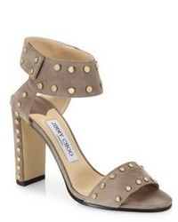 Jimmy Choo Veto Studded Suede Block Heel Sandals