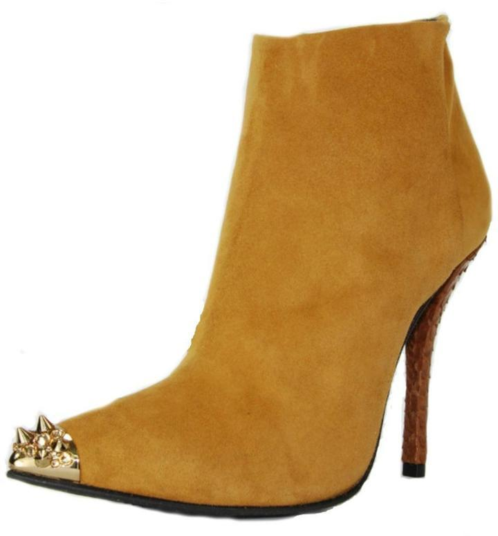 huge discount 4e5db fd921 Baldan Luxury Shoes Studded Camel Bootie