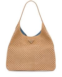 Prada Suede Perforated Shoulder Bag Tan