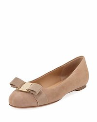 Suede bow ballet flat nude medium 4016397