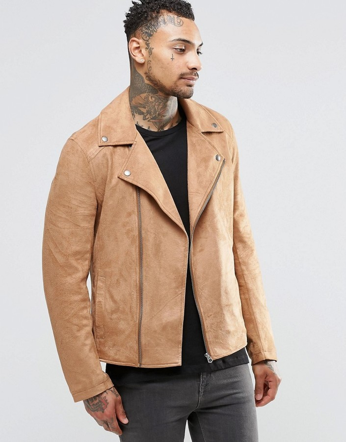 ab7341d5f8a5 ... Asos Brand Faux Suede Biker Jacket In Tan ...