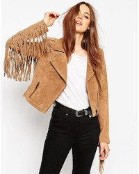Asos Collection Biker Jacket In Suede With Fringing