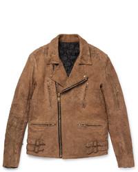 Slim fit distressed suede biker jacket medium 3693676
