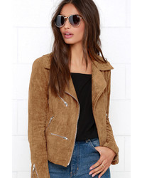 Suede with love tan suede moto jacket medium 371916