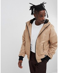 YOURTURN Borg Lined Faux Suede Bomber Jacket In Stone