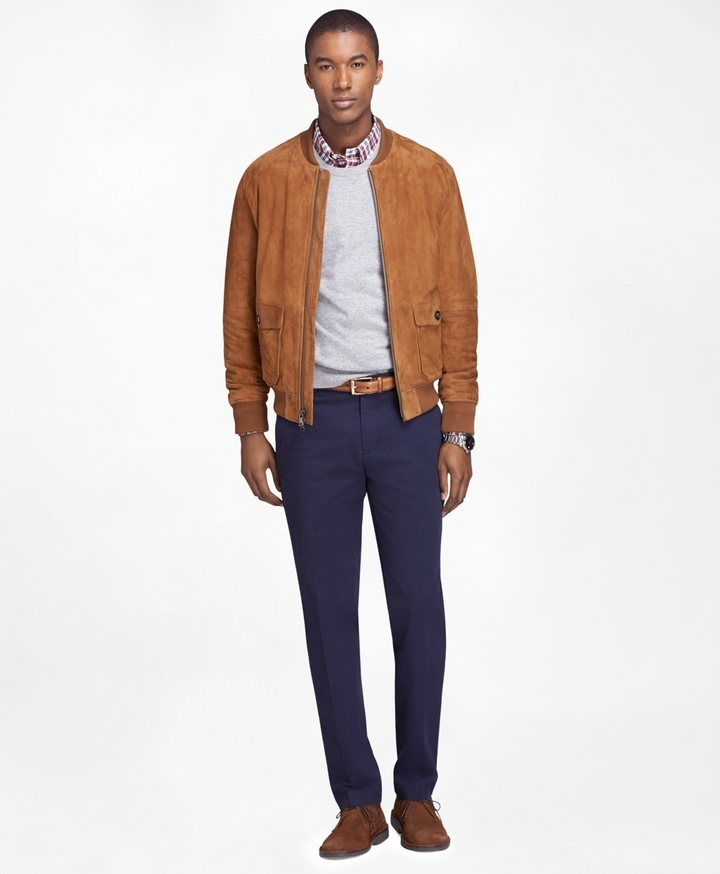 Brooks Brothers Brown Suede Bomber Jacket | Where to buy & how to wear