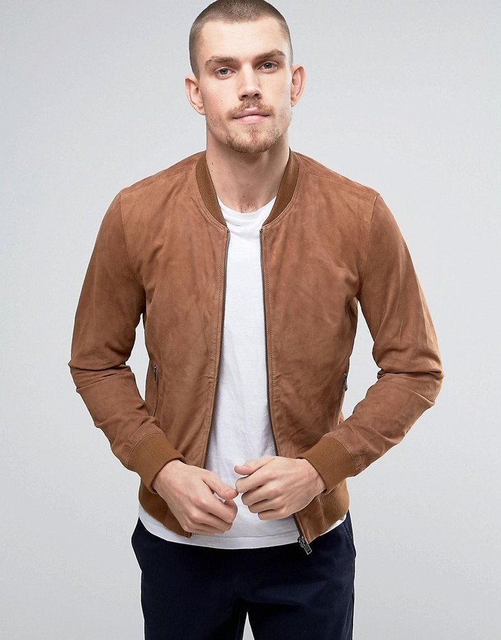 52ce496f6 $186, Selected Homme Suede Bomber Jacket