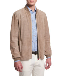 Kiton Perforated Suede Bomber Jacket Tan
