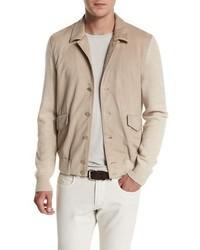 Summit rock cashmere suede bomber jacket natural melange medium 713268