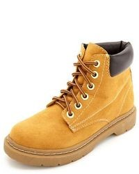 Charlotte Russe Lace Up Lug Sole Work Boot
