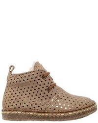 Ocra Polka Dot Suede Shearling Boots