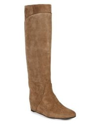 Lanvin Suede Tall Hidden Wedge Boots
