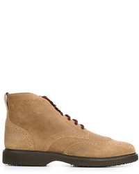 Tan Suede Brogue Boots