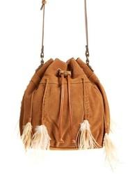 Tan Suede Bucket Bag