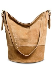Merona Suede Bucket Handbag Tan