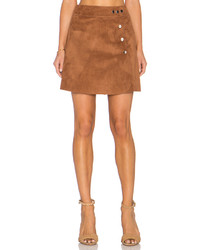 1 STATE 1 State Side Button A Line Mini Faux Suede Skirt