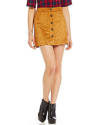 Alythea Button Front Faux Suede Skirt