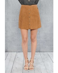 Double Zero Suede Button Skirt
