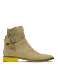 Off-White Beige Suede Jodhpur Boots