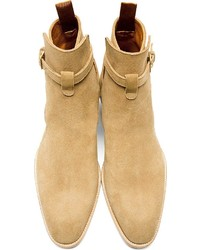 Saint Laurent Beige Suede Strapped Ankle Boots | Where to buy ...
