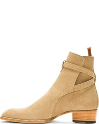 ... Saint Laurent Beige Suede Strapped Ankle Boots ... b66be641049d