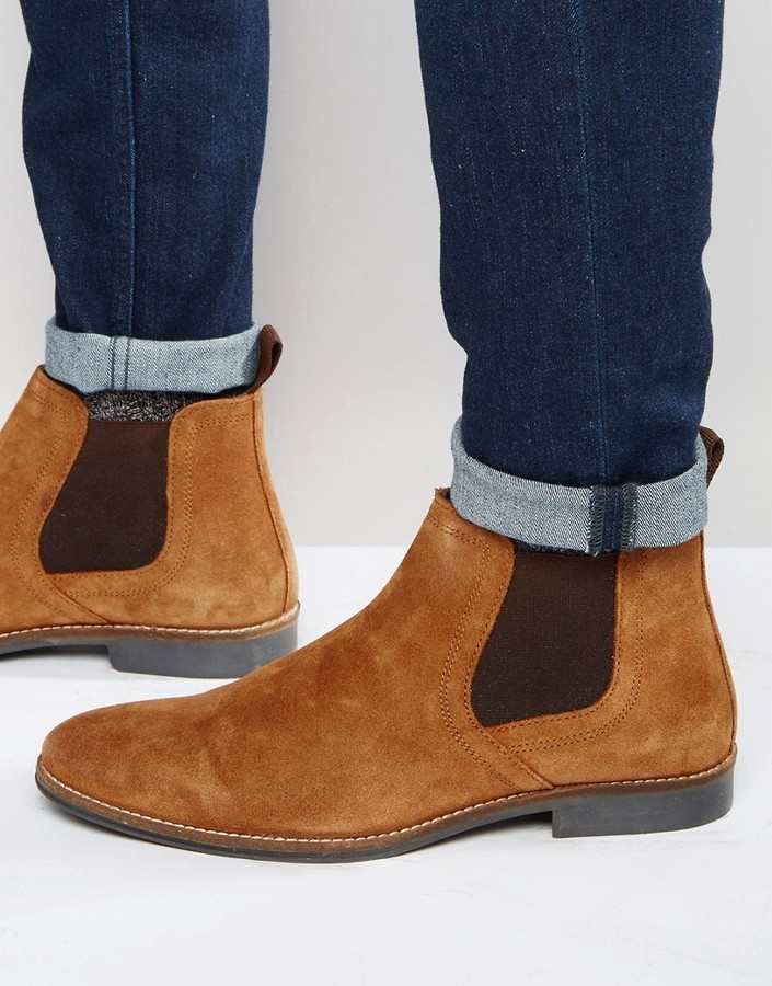 Red Tape Chelsea Boots Tan Suede, $51