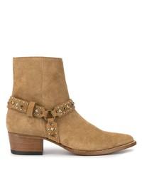 Amiri Embellished Strap Ankle Boots