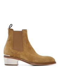 Alexander McQueen Tan Metal Heel Chelsea Boots